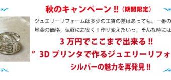 """3万円でここまで出来る‼  """"3Dプリンタを使ったジュエリーリフォーム"""" ¥32,400-(¥30,000×tax)"""